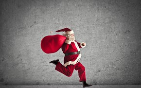 Picture red, holiday, hat, new year, Christmas, glasses, gifts, coat, beard, bag, Santa Claus, runs, hurry, …