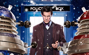 Picture look, stars, snow, actor, male, booth, Doctor Who, Doctor Who, The TARDIS, TARDIS, Matt Smith, …