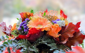 Picture leaves, rose, bouquet, gerbera
