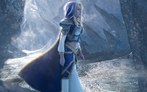 Picture girl, World of Warcraft, game, Warcraft, armor, cosplay, blonde, Jaina Proudmoore, hood