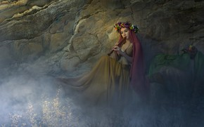 Picture girl, flowers, pose, fog, rock, music, fantasy, mood, model, the game, treatment, dress, art, couples, ...