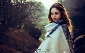 Picture forest, girl, trees, model, portrait, makeup, hairstyle, brown hair, beauty, coat, photoshoot, nature