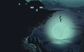 Wallpaper Moon, people, lake, forest, artwork, situation, stars, houses, night, helping, trees, cliff, climbing, silhouette, minimalism, ...