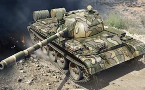 Picture Soviet medium tank, T-55, Soviet, Mod 1963