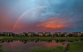 Picture Sunset, The sky, Nature, Home, The evening, Pond, Rainbow, Rainbow, Nature, Sky, Sunset, Evening, Pond