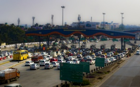 Picture light, cars, booth, traffic lights, traffic jam, toll