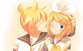Picture children, anime, art, two, Vocaloid, Vocaloid, Kagamine Len, Kagamine Rin