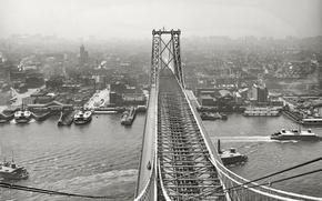 Picture bridge, retro, ship, New York, USA, 1903-the year