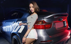 Wallpaper BMW, Girls, auto, beautiful girl, is above the machine, look