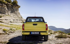 Picture the sky, yellow, vegetation, Mercedes-Benz, body, rear view, pickup, 2017, X-Class, the highlands