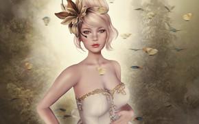 Wallpaper girl, dress, blonde, hat