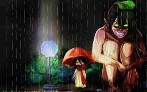 Picture cold, night, monster, grin, parody, monster, waiting, My neighbor Totoro, the shower, slush, Shingeki no …