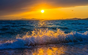 Picture sea, wave, sunset, mountains, surf