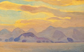 Picture clouds, landscape, mountains, picture, Rockwell Kent, Rockwell Kent, Alaska Impression