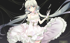 Picture dress, girl, Vocaloid, the dark background