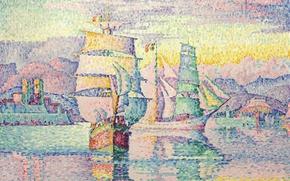 Wallpaper sail, seascape, pointillism, Paul Signac, Antibes. Brigantine, ship, picture