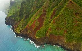Picture sea, mountains, landscape, shore, Hawaii