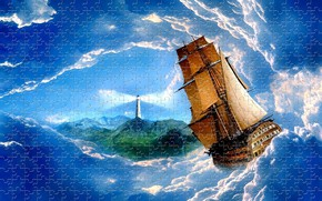 Wallpaper rendering, island, puzzles, sailboat, sea, wave, lighthouse, the sky, clouds