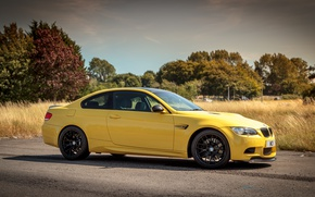 Picture the sky, clouds, trees, yellow, coupe, BMW, BMW, e92, dakar edition