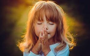 Picture hair, girl, prayer