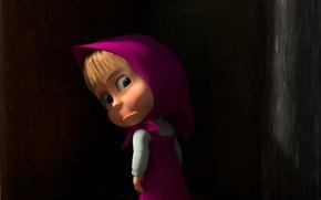 Wallpaper look, resentment, girl, shawl, sundress, Masha, in the dark, Masha and the Bear, half a ...