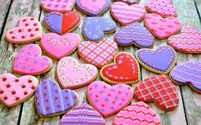 Picture heart, cookies, cakes, sweet, Valentine's Day, sweets