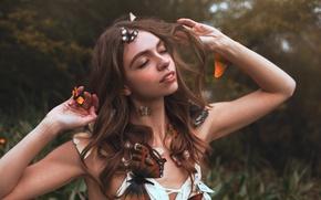 Picture butterfly, girl, Aleah Michele, Garden dreams
