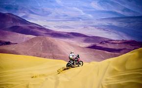 Picture Sand, Mountains, People, Sport, Speed, Race, Hills, Motorcycle, Honda, Moto, Honda, One, Rally, Dakar, Rally, …