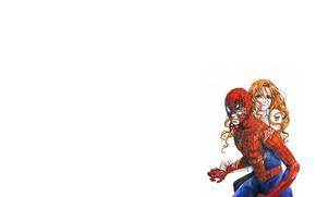 Picture girl, fantasy, green eyes, minimalism, blue eyes, boy, Marvel, couple, comics, redhead, artwork, mask, superhero, …