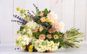 Picture bouquet, Astra, carnation, lavender, gillyflower