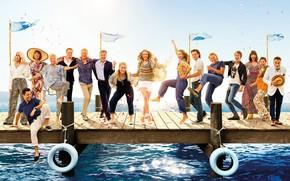 Picture sea, petals, pier, dancing, poster, fun, characters, Colin Firth, Amanda Seyfried, Amanda Seifred, Cher, Pierce …