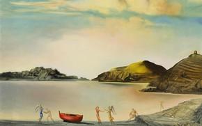 Wallpaper surrealism, picture, Salvador Dali, Salvador Dali, Port lligat at Sunset