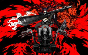 Picture girl, weapons, Black Rock Shooter, Insane Black Rock Shooter