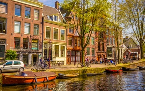 Wallpaper spring, river, boat, buildings, canal, boats, Amsterdam, Netherlands, old, Amsterdam, spring