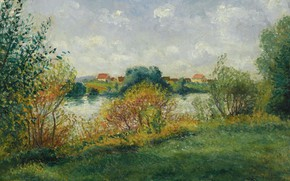 Picture landscape, nature, picture, Georges Henri Manzana Pissarro, Georges-Henri Manzana-Pissarro, Hay in Musso