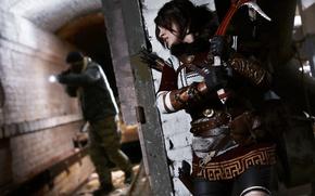 Wallpaper arrow, Lara Croft, ice axe, cosplay, gun, brunette, rifle, girl, woman, weapon, Tomb Raider