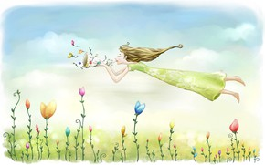Picture the sky, girl, flight, flowers, mood, figure, spring, meadow, art, picture, euphoria, light clouds