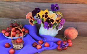 Picture vase, peach, Pansy, cherry, flowers