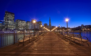 Picture night, bridge, lights, lights, San Francisco, USA, benches