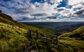 Picture England, Nature, Clouds, Mountains, Grass, The fence, Landscape, Valley