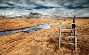 Picture field, mountains, river, Stairway to heaven