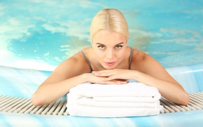Picture look, water, girl, pool, makeup, hairstyle, blonde, towels
