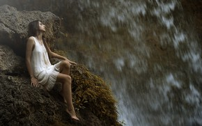 Picture girl, drops, waterfall, legs, Maria Nita