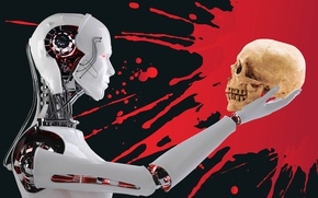 Picture background, blood, skull, robot