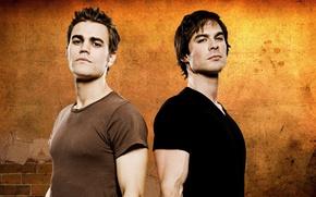Picture The Vampire Diaries, Ian Somerhalder, man, vampire, Paul Wesley, Damon Salvatore, Stefan Salvatore, tv series, …