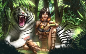 Wallpaper Kiera, forest, jungle, art, white tiger, girl, tiger