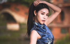 Picture look, girl, style, hair, Asian, bokeh