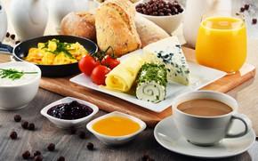 Picture coffee, food, Breakfast, cheese, juice, bread, jam, cereal, yogurt, cutting Board
