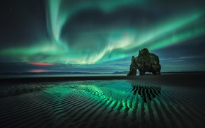 Picture beach, the sky, night, rock, Northern lights, tide, Iceland