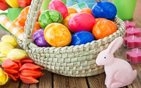Wallpaper spring, basket, decoration, colorful, Easter, Easter, tulips, tulips, happy, the painted eggs, flowers, spring, eggs, ...